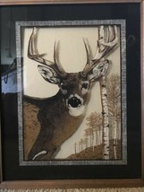 Reverse Image on Glass Buck Deer in Woods Lu Lus Framed Picture 17 x 21 ... - $98.99