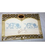 Boxed Vintage Blue Embroidered Mr. & Mrs. Pillow Case Ensemble-USA - $18.50