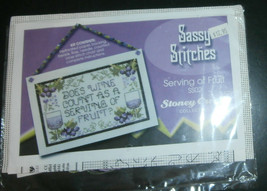 """Serving of Fruit Stoney Creek Cross Stitch Kit Wine 6.25"""" x 4"""" Perforated Paper - $8.79"""