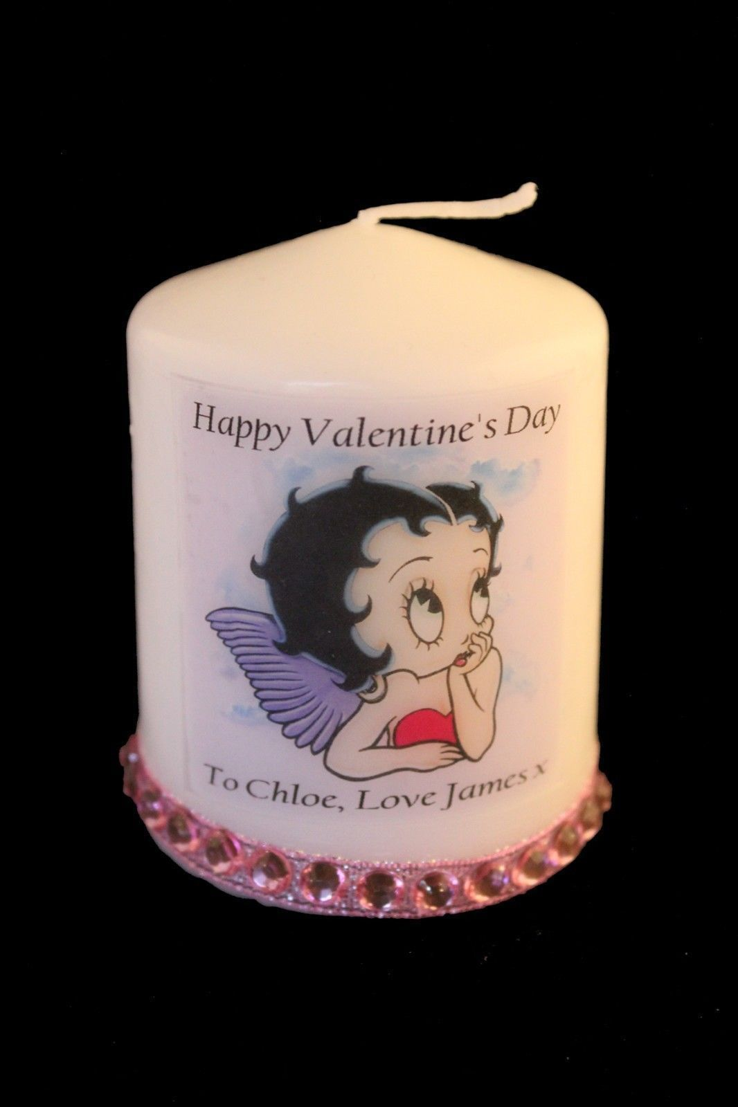 "Betty Boop Angel Valentine Candle 3""  Personalised gift for her"