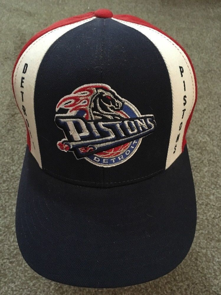 Primary image for Detroit Pistons Wool Fitted Baseball Hat, Size 7 1/4 By Reebok - Unused