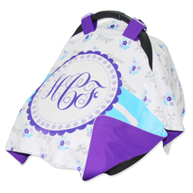 Personalized Baby Girl Summer Purple Flower Car Seat Cover - $52.99