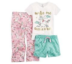 Carter's Baby Girls' 3 Piece Unicorn Jersey Pjs 24 Months - $23.87