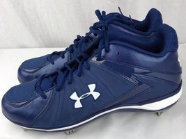 Under Armour men's blue Ignite Mid ST Baseball Cleat size 15 - $36.96