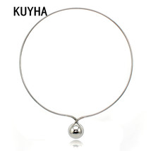 Women Collar Choker Necklace Circle Metal Pendants Ball Statement Necklaces Silv - $18.10