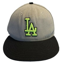 New Era Los Angeles Dodgers Fitted Hat 7 1/2 Gray Neon Green 3D Logo Bla... - $19.59