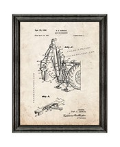 Back Hoe Excavator Patent Print Old Look with Black Wood Frame - $24.95+