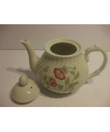 White Porcelain Teapot With Pink Flowers And Butterflies  Holds 4 Cups L... - $49.49
