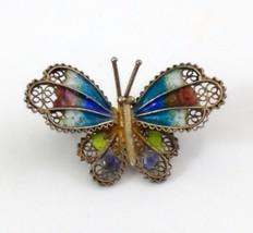 Butterfly Brooch 800 Vermeil Filigree Enamel image 3