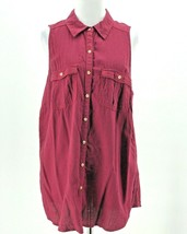 Maurices Women's Plus Red Button Down Sleeveless Collared Blouse Size 0 - $14.85