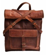 "New 15"" Men's Genuine Vintage Leather Travel Rucksack Backpack Messenger... - $60.47"