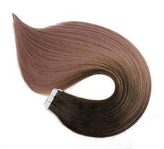 Tape In Hair Extensions Human Hair Balayage Ombre Hair 20pcs/50g Per Set Dark Br image 4