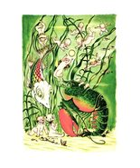 Water Babies Vintage Book Print Art Babies Fish Lobster Seaweed Ocean  - $10.99