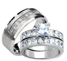 His and Hers Wedding Rings Princess Cut Cz Wedding Ring Set Stainless Steel - $38.99