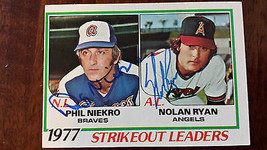 1978 TOPPS 1977 STRIKEOUT LEADERS CARD SIGNED BY BOTH NOLAN RYAN PHIL NI... - $74.24