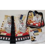 FAT CHEF KITCHEN SET 7pc Towels Pot Holders Dishcloths Black Red French ... - $14.99