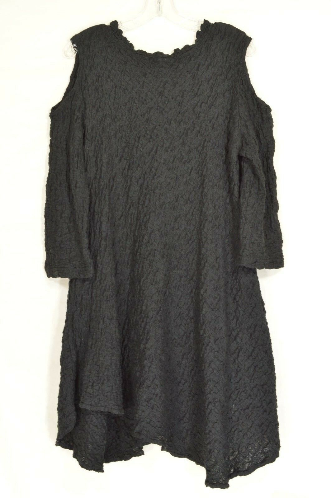 Design Today dress tunic S black long sleeve cold shoulder crinkle material
