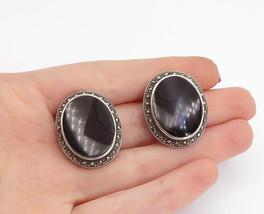 925 Silver - Vintage Black Onyx & Marcasite Non Pierce Button Earrings -... - $46.75