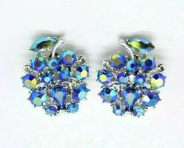 LISNER Blue Aurora Borealis Rhinestone Flower Silver Tone Clip Earrings ... - $23.76