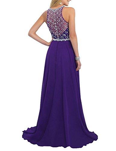 Women's Purple Scoop Beaded Long Chiffon Prom Dresses For 2018 Evening Dresses