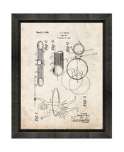 Hoop Toy Patent Print Old Look with Beveled Wood Frame - $24.95+