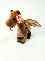 "TY BEANIE BABIES Scorch Dragon 7"" Bean Bag Plush Stuffed Animal 1998 w/ Tag - $8.79"