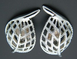 Sarah Coventry Silver Tone Leaf Clip-On Earrings Vintage - $7.92