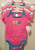 BabyKiss Set Of 5 Girls Infant Bodysuits Size 3-6 Months New - $9.89