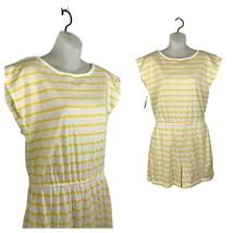 1980s Sleeveless Romper / NOS Yellow Stripe Cotton Summer Jumpsuit / Medium - $48.30