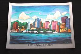 Fred Peters Honolulu skyline - 36 x 26 Print Hawaii Art art code FPHS26X36 - $32.99