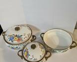 Vintage M Kamenstein Enamel Cookware Pots Skillet 5 pc Set Floral Brass Handles