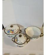 Vintage M Kamenstein Enamel Cookware Pots Skillet 5 pc Set Floral Brass ... - $74.99