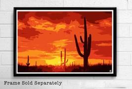 Saguaro National Park Illustration - Desert Sunset Arizona Landscape - P... - $19.95+