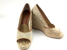 MICHAEL KORS Women's Wedges Tan Cabana Peep Toe Platform Espadrilles Sz 7.5 - $49.32