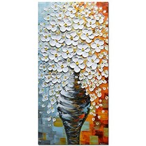 Asdam Art -White Flowers in Vase Wall Art 3D Hand Painted Oil Paintings ... - $105.57