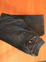 WOMENS FLARE MID RISE DKNY SOHO DARK BLUE JEANS DISTRESSED SIZE 10R STRETCH - $30.84