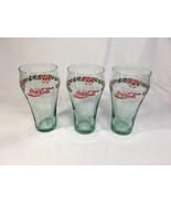 "Coca Cola Drinking Glass Holidays Christmas Bells Holly Leaves 6"" Set Of... - $57.07"