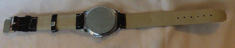 Vintage 1980s Quartz Men's Watch Textured Dark Brown Leather Band Unused image 3