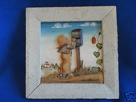 Italian Hand Painted Wood Sculpture Boy Child Checking Mailbox - $17.99