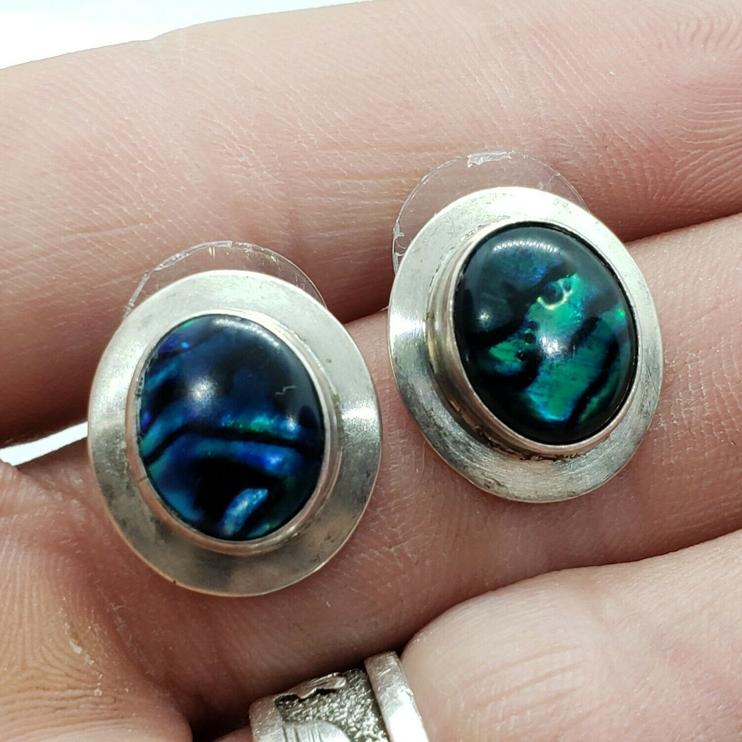 Primary image for 1988 RAINSTAR USA Sterling Silver 925 Abalone Stud Earrings FREE Shipping