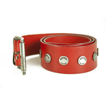Moschino Jeans Woman's Red Leather Studded Logo Press Stud Belt sz 85 - $118.80