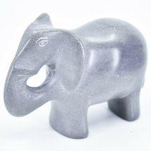 Crafts Caravan Hand Carved Natural Dove Gray Soapstone Elephant Figure image 3