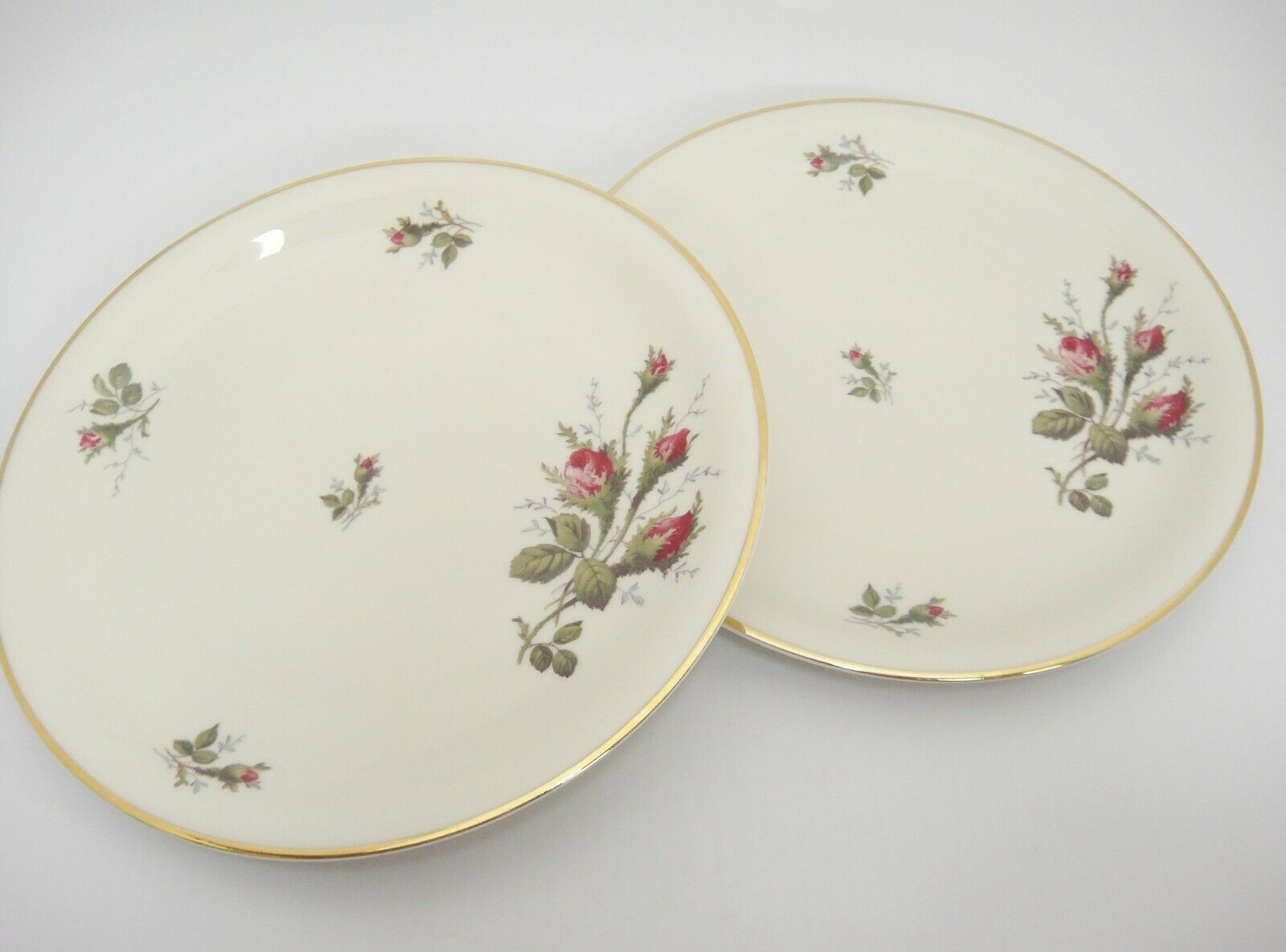 "Primary image for Rosenthal 2 8"" Salad Plates F33 22 15 Rosebuds Thorny Stems Gilded Edge Germany"