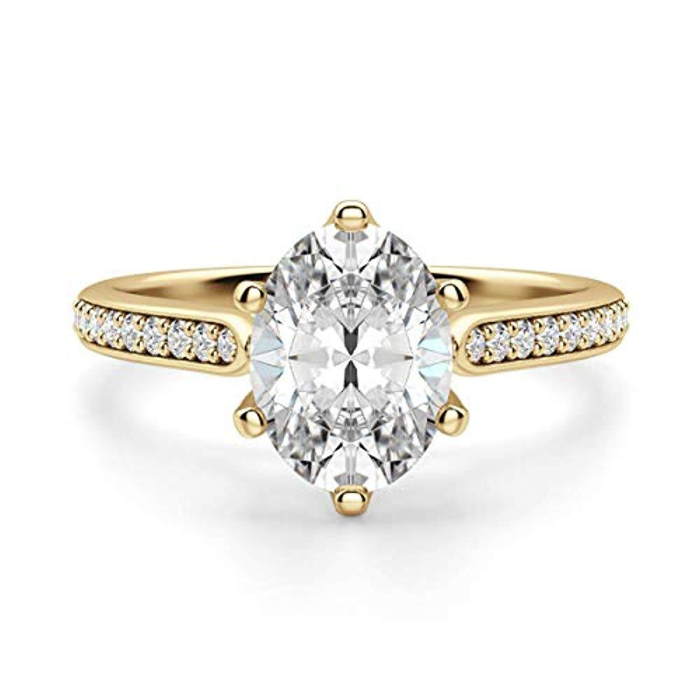 Primary image for Naiesha Jewels 10k Yellow Gold Plated 1.50 Ct Oval & Round Cut CZ Diamond Solita