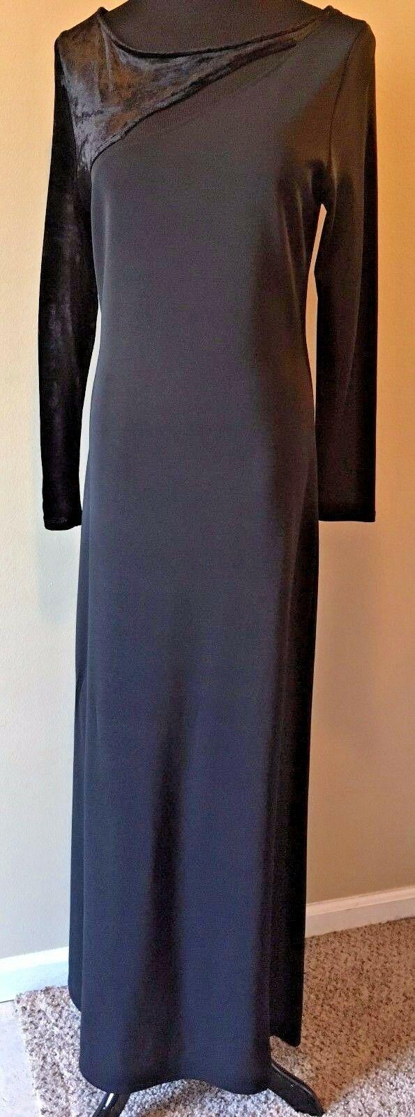 Anne Klein Black Velvet & Rayon Cutout Long Formal Dress size S M NWT $225 DS7