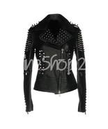 New Women Punk Rock Black Full Silver Spiked Studded Brando Biker Leather Jacket - $179.99