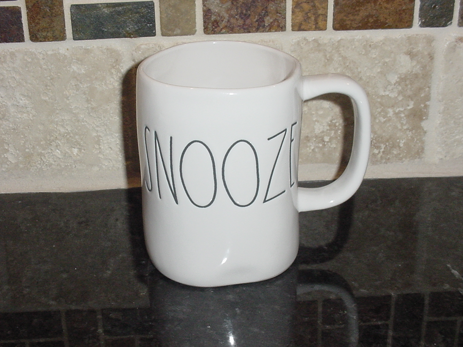 Rae Dunn SNOOZE Rustic Mug, Ivory with Black Letters, New!