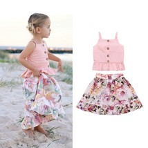 2PCS Toddler Infant Cotton Tops +Floral Skirts Kids Baby Girl Casual Clo... - $10.39