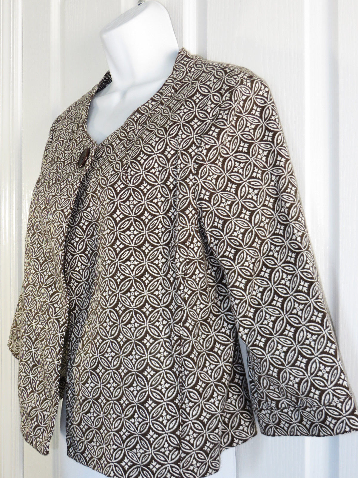 Talbots Swing Blazer Size 12 Brown One Button Unlined Cotton Twill 3/4 Sleeve