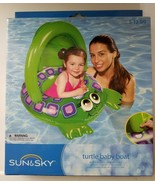 Sun & Sky Inflatable Turtle Baby Boat Tube Pool Float Green - $10.88